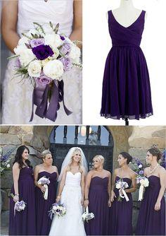 High quality Eggplant purple, V-neck silky chiffon, knee-length, bridesmaid dress, wedding party dress, custom color custom size