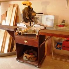 Space-saving miter saw stand for your workshop or garage. #storage ideas and #organization http://community.familyhandyman.com/tfh_group/b/diy_advice_blog/archive/2012/11/09/my-workshop-space-saver.aspx