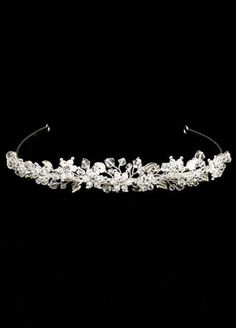 Tiara w/ Rhinestone Flowers and Metallic Leaves Style 100501