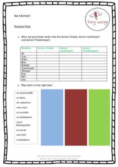 Na hAimsirí - Irish Grammar Activities Grammar Activities, 10 Points, Teacher Newsletter, Summary, Worksheets, Irish, How To Get, Education, Pop