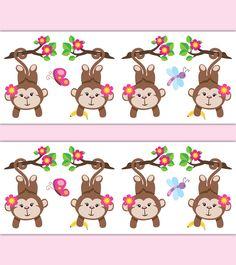 Monkey Wallpaper Border Wall Art Decal Pink Girl Nursery Decor - Click Image to Close