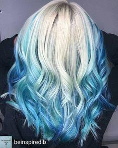 50 fun blue hair ideas become more adventurous with your hair - Hair Color Ideas Hair Dye Colors, Ombre Hair Color, Cool Hair Color, Blonde And Blue Hair, Blue Tips Hair, Baby Blue Hair, Hair Tips, Mermaid Hair, Hair Hacks