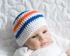 BABY HOCKEY BOYS Striped Beanie Hat Crocheted in Team Colours White, Oiler Blue, Orange, Size Preemie, Newborn, 0-3 up to 3 Months by Grandmabilt on Etsy