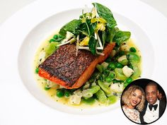 Hello, Dreakfast! Why Dinner for Breakfast Is the Best Idea Ever | FAROE ISLAND SALMON WITH RICOTTA DUMPLINGS | Prepare for your mouth to start watering. We know to listen to anything Beyoncé tells us to do, so add this to the list. The star dined with husband Jay Z at the posh Polo Lounge at the Beverly Hills Hotel, which boasts this typical dinner dish on it's brunch menu: salmon over a plate full of cheesy dumplings and veggies.