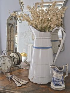 Chateau Chic- Vintage French enamelware pitcher, blue transferware pitcher