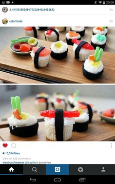 dessert sushi So if you really have a lot of time on your hands, this is what you need to do sushi cupcakes complete with recipes Wenn Sie also wirklich viel Zeit zur Verfgung haben, mssen Sie dies tun Sushi-Cupcakes mit Rezepten Sushi Cupcakes, Mini Cupcakes, Summer Cupcakes, Cool Cupcakes, Cupcakes Decoration Awesome, Funny Cupcakes, Themed Cupcakes, Baking Cupcakes, Cupcake Cookies
