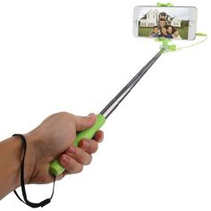 [$3.03] HAWEEL Mini Multifunction Wire Controlled Extendable Selfie Stick Monopod for iOS & Android Phone, Max Length: 70cm(Green)