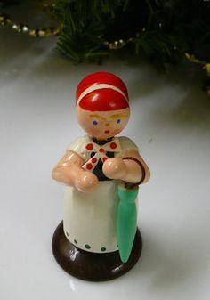 Erzgebirge doll in folk costume with umbrella by tablesandtemari, $6.00
