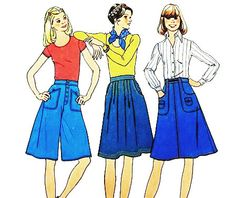 Simplicity 7404 Vintage 1970s Jr Teen Size Skirt and Pantskirt Sewing Pattern by DRCRosePatterns on Etsy