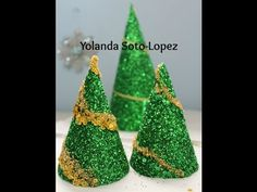DIY Christmas Decorations | How to Make Tabletop Christmas Trees with String and Glitter - YouTube