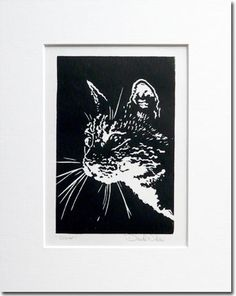 Cat Linocut by ChickenUniverse