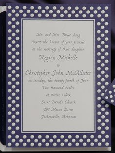 Red, White and Blue Wedding Ideas - Blue Polka Dot Invitation (Invitation Link - http://www.occasionsinprint.com/pinterest-board---red-white--blue-wedding-invitations.html