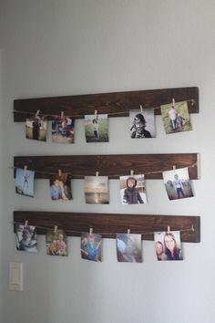 These beautiful stained photo hangers are perfect for any space whether you are looking to add family photos to a wall, notes and reminders to Rustic Pictures, Crafts With Pictures, Picture Boards, Sewing Spaces, Picture Hangers, Wall Hanger, Photo Wall, Diy Crafts, Early Education