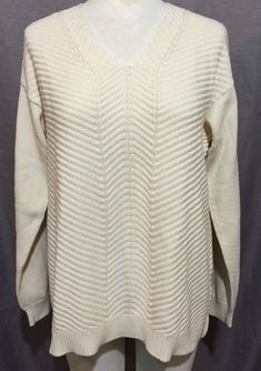 b46072c175c CHAPS Size XL Cream White Cotton Chunky Sweater Knit V-neck Tunic Top