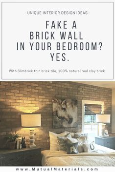 Buy thin brick tile, create a brick wall anywhere! Slimbrick is natural real brick installs like a tile. Lots of styles for modern interior design in homes and commercial interiors. Girls Bedroom Colors, Bedroom Wall Colors, Home Decor Bedroom, Bedroom Rugs, Bedroom Modern, Master Bedroom, Brick Bedroom, Bedroom Flooring, Home Interior Design