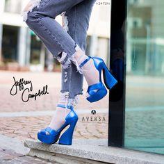 Jeffrey Campbell Stefanya Electric blue kid skin