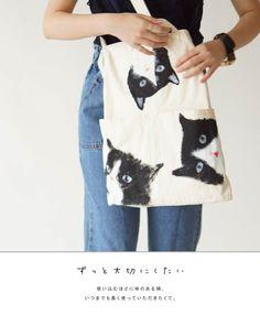 【楽天市場】【再入荷♪9月20日12時&22時より】「sanpo」手書きのねこさんキャンバスバッグ:cawaii