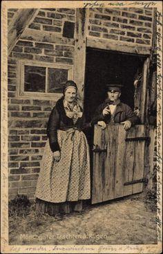 Postkarte Möchguter Trachten auf Rügen, Mecklenburg Vorpommern, Bauernpaar 1930 #Mönchgut