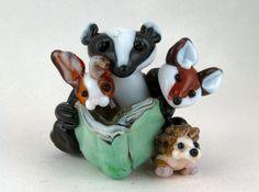 Story Time, Badger-Fox-Hedgehog-Rabbit Lampwork Bead Blue Mountain Magic #Lampwork