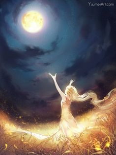 Anime picture 1000x1333 with  original yuumei long hair single tall image blonde hair bare shoulders cloud (clouds) standing very long hair profile signed hair flower night wind magic night sky from below full moon looking up