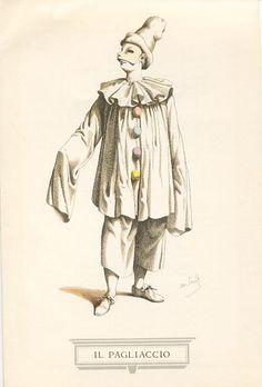 La maschera del Pagliaccio, affermatasi soprattutto in Francia con Pierrot, o in Inghilterra con i clowns da circo, è nata dalla fantasia di un cantastorie emiliano del '500, Giulio Cesare Croce, che compendiò le sue pubbliche narrazioni in un libro intitolato «Vita di Bertoldo e di suo figlio Bertoldino» cui, dopo la morte del Croce (1609), Camillo Scaligero aggiunse in appendice una «Vita di Cacasenno», figlio di Bertoldino.