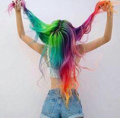 Image in alternative hair collection by Tasha Parham Pretty Hair Color, Beautiful Hair Color, Pelo Multicolor, Coloured Hair, Hair Dye Colors, Unicorn Hair, Dye My Hair, Grunge Hair, Rainbow Hair