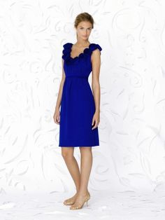 (NO.018769 )Sheath / Column Scoop  Hand-Made Flower Sleeveless Knee-length  Chiffon Royal Blue Bridesmaid Dress / Cocktail Dress / Homecoming Dress