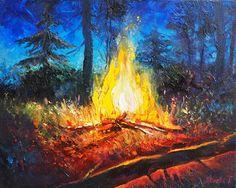 Fire Painting, Night Sky Painting, Light Painting, Landscape Art, Landscape Paintings, Forest Landscape, Cool Paintings, Original Paintings, Fire Art