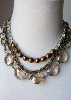 """Mixed metal chain, glass cut crystal, matt bronze & smoke glass. Length: 16""""-19"""""""
