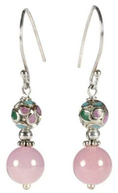 Amazon.com: Sterling Silver Cloisonne with Rose Quartz Drop Earrings: Jewelry