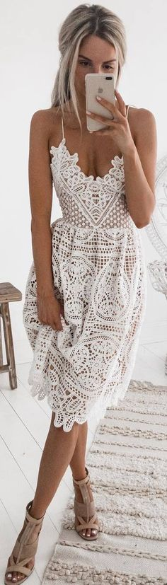 #spring #outfits white lace dress