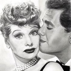 Lucy and Desi. I Love Lucy is an American television sitcom starring Lucille Ball, Desi Arnaz, Vivian Vance, and William Frawley. Lucy and Desi Lucy And Ricky, Desi Arnaz, Face Sketch, Celebrity Drawings, Edgar Degas, I Love Lucy, Lucille Ball, Human Art, Models