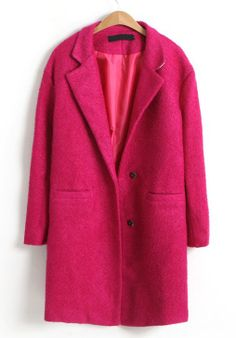 Rose Red Notch Lapel Long Sleeve Trench Coat US$42.30