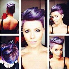 Extreme Frisuren, lilafarbene Haartollen für die Frauen mit mut!!