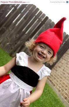 Gnomeo and Juliet Gnome Dress-Halloween Costume-Toddler Girl-Apron Dress Dwarf Costume, Gnome Costume, Gnome Hat, Toddler Halloween Costumes, Halloween Boo, Halloween Dress, 2 Piece Outfits, Dress Outfits, Apron Dress