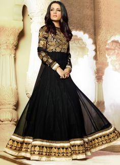 Celina Jaitley In Blck Party Wear Long Anarkali Salwar Suit http://www.angelnx.com/Salwar-Kameez/Bollywood-Salwar