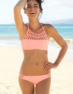 2015 Womens Sexy High Neck Crop Top Tribal Bikini Set Padded Swimwear Swimsuit