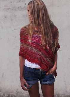 Hey, I found this really awesome Etsy listing at https://www.etsy.com/ca/listing/204293582/poncho-red-poncho-red-tweed-mix-poncho