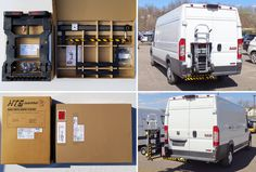HTS Systems' designed for larger full size (walk-in) commercial cargo delivery vans. Allows access to both rear doors, increases cargo valuable cargo space, reduce product damage, route delivery time and worker injuries. Van Storage, Truck Storage, Locker Storage, Trailer Hitch Receiver, Commercial Vehicle, The Unit, Trucks, Product Design