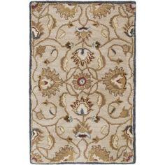 World Menagerie Topaz Blond Floral Area Rug Rug Size: 4' x 6'