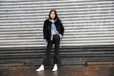 Fendifur coat, Acne denim jacket, Miu Miu cardigan, We11 Done pants (similar here), Converse sneakers