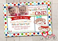 Twin Birthday Sock Monkey Invitation Printable by thelovelyapple