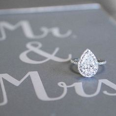 Stunning pear-shaped diamond engagement ring!