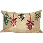 Found it at Wayfair - Christmas Ribbon with Ornaments Pillow