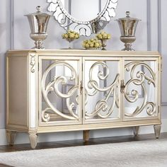 Bring elegance to your home with the American Drew Jessica McClintock Couture Buffet-with Stone Top - silver Leaf . Its dramatic design, in metallic. Mirrored Furniture, Painted Furniture, Home Furniture, Furniture Design, Furniture Ideas, Metallic Furniture, Inexpensive Furniture, Furniture Websites, Accent Furniture