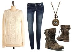 love this outfit <3 really easy to remake too have the jeans necklace and boots but I'm on a mission to find a sweater