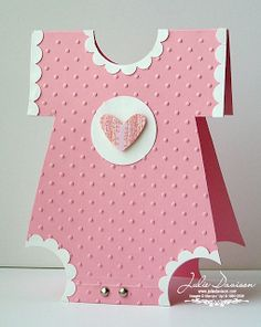 Julie's Stamping Spot -- Stampin' Up! Project Ideas by Julie Davison: Onesie Baby Shower Card Tarjetas Stampin Up, Stampin Up Cards, Baby Girl Cards, New Baby Cards, Moldes Para Baby Shower, Greeting Cards Handmade, Baby Shower Cards Handmade, Creative Cards, Kids Cards