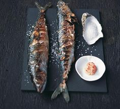 Salt-grilled mackerel  Sprinkle fish lightly inside and out with salt. Leave for 30 min. Preheat grill.  Make diagonal slashes on each side of fish. Place under the grill and cook for about 5 min on each side or until fish flakes easily when tested with fork.