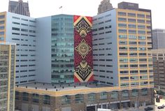 Downtown Detroit's new Shepard Fairey mural is officially finished. It certainly adds some flavor to the Compuware Building.