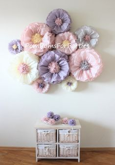 10 Oversized paper flowers. Ash pink Ash lilac Ivory Grey.